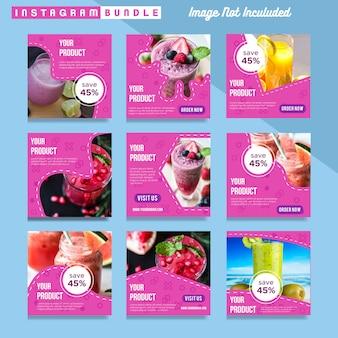 Plantilla moderna de la bebida de la comida del poste de instagram