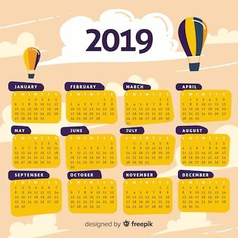 Plantilla moderna de calendario de 2019 dibujado a mano