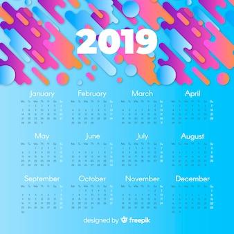 Plantilla moderna de calendario de 2019