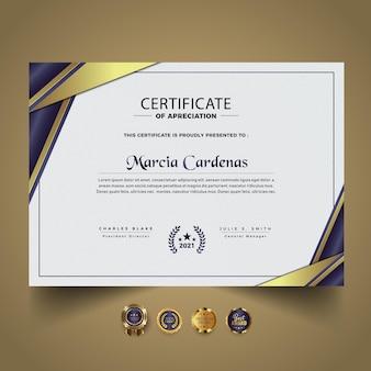 Plantilla moderna de certificado abstracto premium