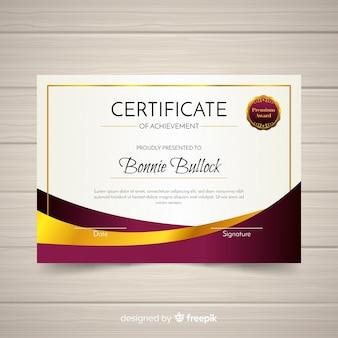 Plantilla moderna de certificado con diseño abstracto