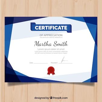 Plantilla moderna de certificado con diseño plano