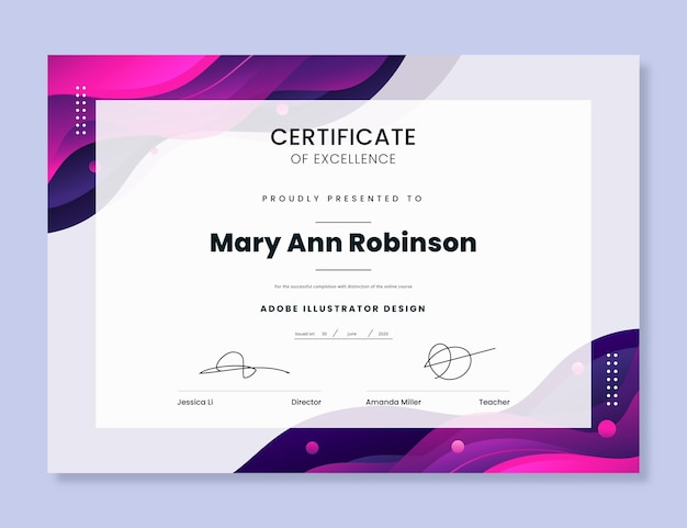 Plantilla moderna de certificado de excelencia