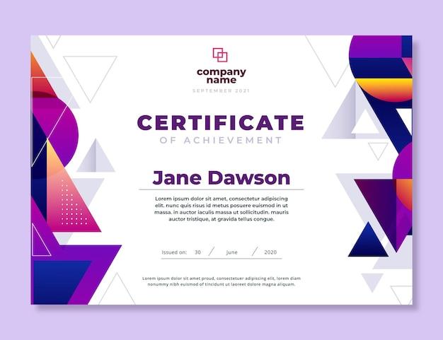 Plantilla moderna de certificado de logros