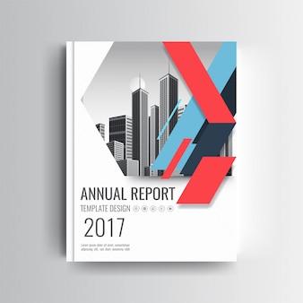 Una plantilla moderna de la cubierta del informe anual con acento geométrico azul y rojo