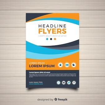 Plantilla moderna de folleto abstracto con diseño plano