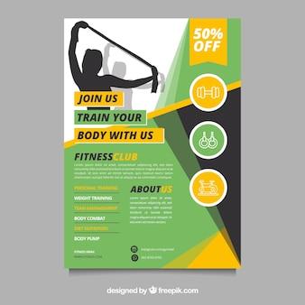 Plantilla moderna de folleto de gimnasio con diseño abstracto