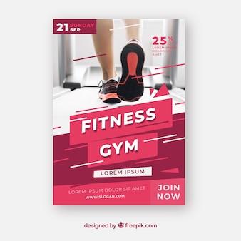 Plantilla moderna de folleto de gimnasio con foto