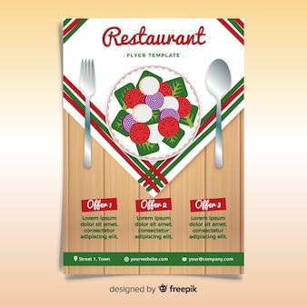 Plantilla moderna de folleto de restaurante con diseño plano