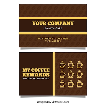 Plantilla moderna de tarjeta de cliente de cafetería