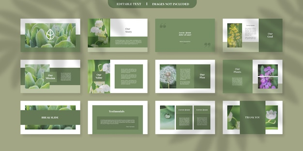 Plantilla moderna de diapositivas de powerpoint verde