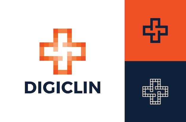 Plantilla moderna de diseño de logotipo médico de píxeles cruzados