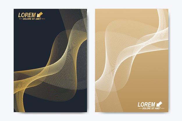 Plantilla moderna diseño de negocios, ciencia y tecnología. presentación con ondas doradas.