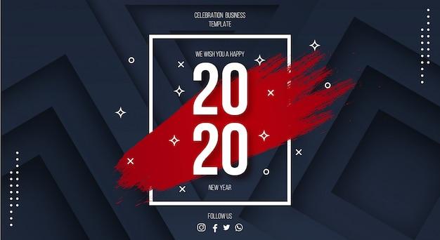 Plantilla moderna feliz año nuevo 2020 con fondo 3d