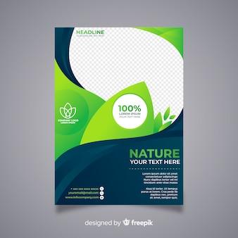Plantilla moderna de folleto de naturaleza con diseño plano