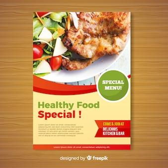 Plantilla moderna de folleto de restaurante de comida sana