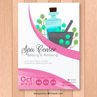Plantilla moderna de folleto de spa con estilo adorable