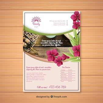 Plantilla moderna de folleto de spa con estilo elegante