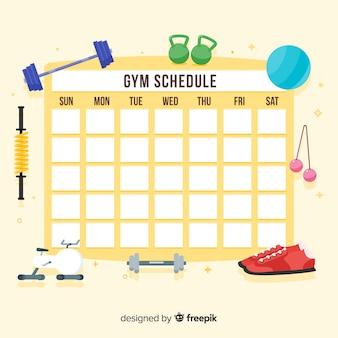 Plantilla moderna de horario de gimnasio con diseño plano