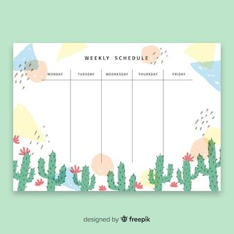 Plantilla moderna de horario semanal con cactus en acuarela