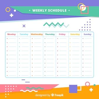 Plantilla moderna de horario semanal con formas geométricas