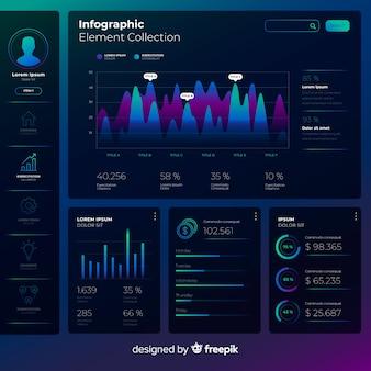 Plantilla moderna de infografía con estilo de degradado