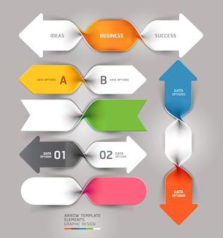 Plantilla moderna de infografías de espiral de negocios de flecha.