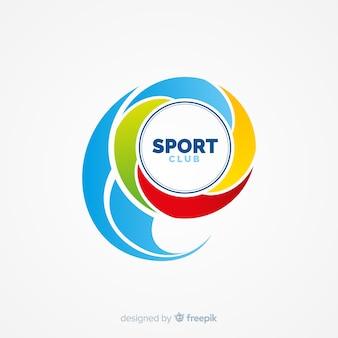 Plantilla moderna de logo de deporte con diseño plano