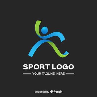 Plantilla moderna de logo de deportes con diseño abstracto
