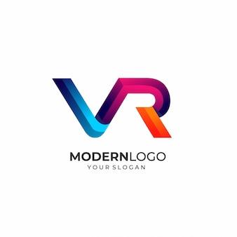 Plantilla moderna del logotipo de la letra vr