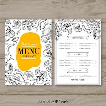 Plantilla moderna de menú de restaurante dibujada a mano