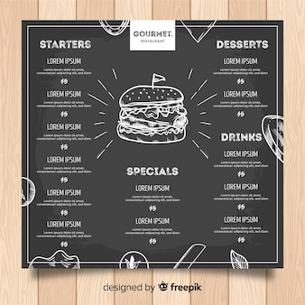 Plantilla moderna de menú de restaurante con estilo de pizarra