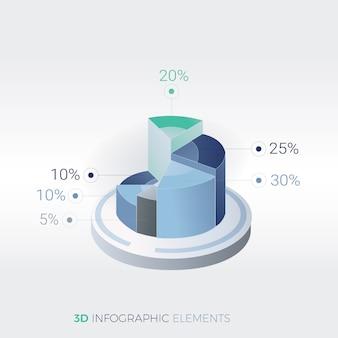 Plantilla moderna moderna del diseño de la infografía de los elementos del negocio 3d