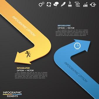 Plantilla moderna de las opciones del estilo de la flecha del documento comercial 3d. ilustracion vectorial se puede utilizar para el diseño del flujo de trabajo, el diagrama, las opciones numéricas, las opciones de mejora, el diseño web, la infografía.
