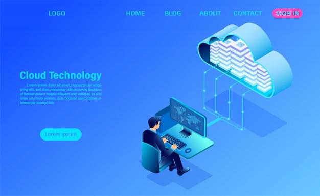 Plantilla moderna de página de destino de redes y tecnología en la nube