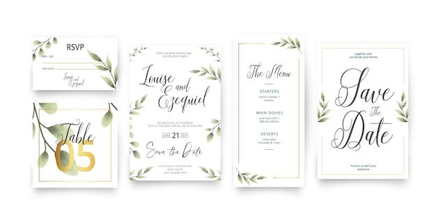 Plantilla moderna para paquete de papelería de boda save the date