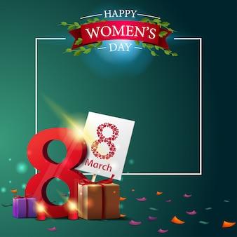 Plantilla moderna de la postal del saludo verde al día de las mujeres