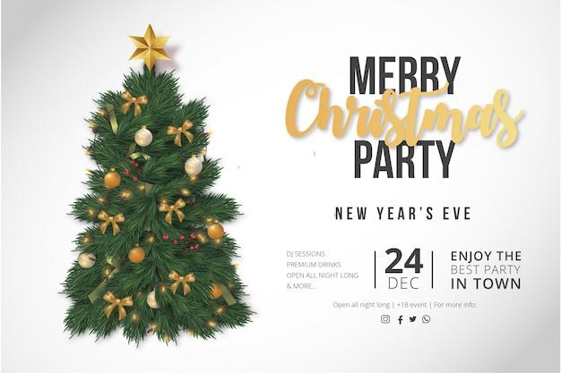 Plantilla moderna de póster de fiesta de feliz navidad