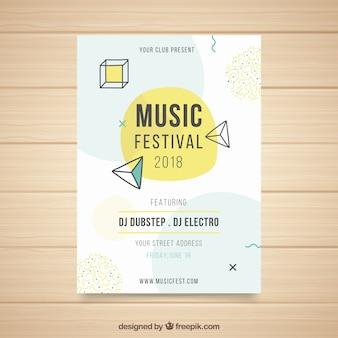 Plantilla moderna de póster de fiesta con formas geométricas