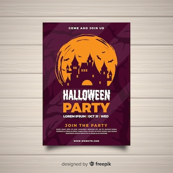 Plantilla moderna de póster de fiesta de halloween con diseño plano