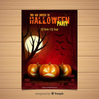 Plantilla moderna de póster de fiesta de halloween con diseño realista