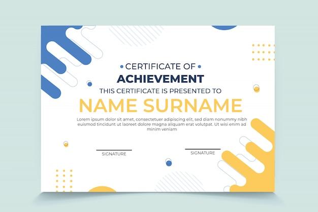 Plantilla moderna de premio de certificado de reconocimiento