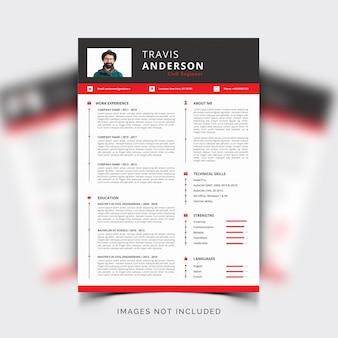 Plantilla moderna y simple de curriculum vitae con detalles en rojo y gris