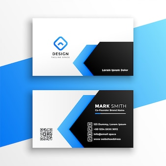 Plantilla moderna de tarjeta de visita azul geométrica