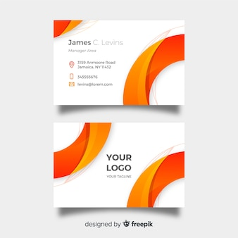 Plantilla moderna de tarjeta de visita blanca y naranja