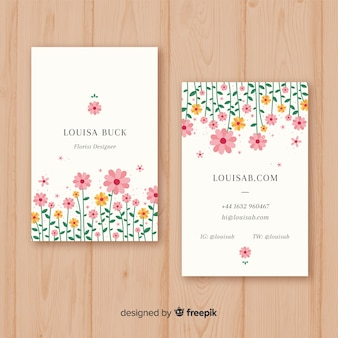 Plantilla moderna de tarjeta de visita con estilo floral