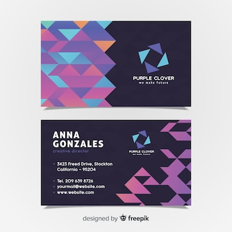 Plantilla moderna de tarjeta de visita con formas geométricas