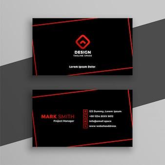 Plantilla moderna de tarjeta de visita roja y negra