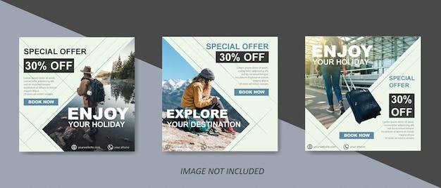 Plantilla moderna de venta de viajes para publicaciones en redes sociales