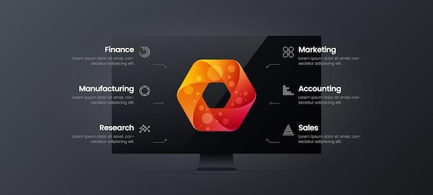 Plantilla de monitor de ilustración de presentación de diseño infográfico de análisis de marketing de datos comerciales corporativos